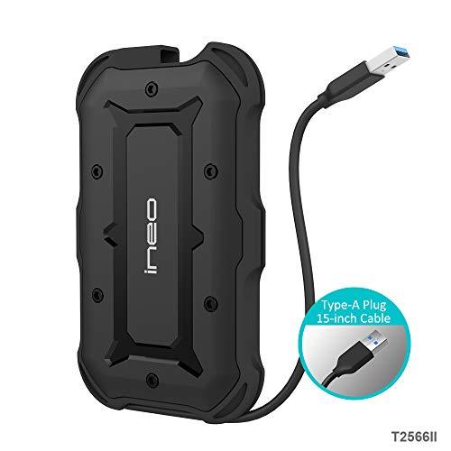 USB 3.1 Gen1 SATA Wasserfestes Festplattengehäuse für 2,5-Zoll Festplatte - PeakLead T2566II Externes Festplatten Gehäuse Enclosure, IPX6 Wasserbeständig, IP6X Military Stoßfest Case für SATA HDD SSD SSHD Hard Drive, Type A Kabel