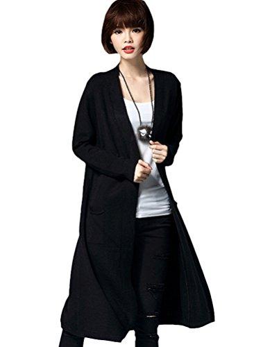 MatchLife Femmes Manches Longues Chandails Manteau Style6-Noir