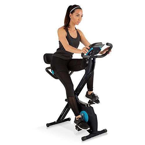 Klarfit Azura Plus 3-in-1 Heimtrainer - Fitnessbike, Fitness-Fahrrad, Cardio-Training, Riemenantrieb, Pulsmesser, Flexible Zugbänder, 8-stufiger Magnetwiderstand, Tablet-Halterung, schwarz