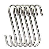 Angker Ganchos planos en forma de S de acero inoxidable pulido (SUS304) para la cocina o para las herramientas de trabajo, grosor 3 mm, Small