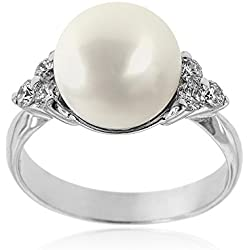Gioiello Italiano - Anillo en oro blanco con diamantes y perla australiana