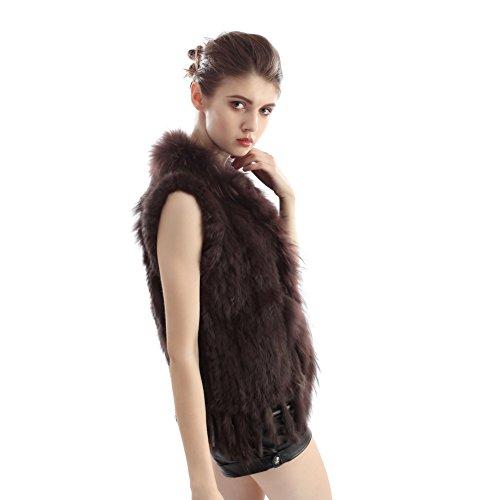 Pelliccia Gilet - Vera Veste Donna Coniglio Fur Frange Sleeveless Corta Nuova Panciotto Caffè