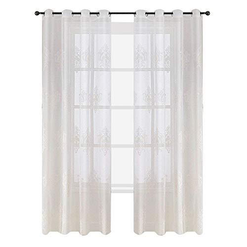 Top finel tende ricamate moderne per case camera da letto cameretta occhielli,140x245 cm,2 pezzi,bianca