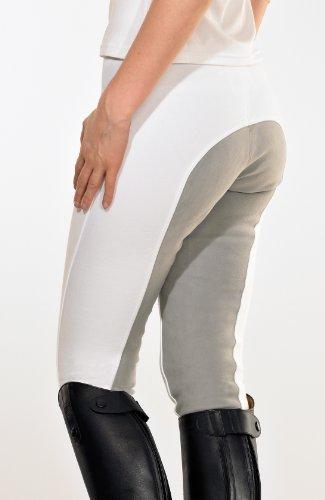 PFIFF Damenreithose mit Ledersitz mit grauem Sitz, weiß, 38