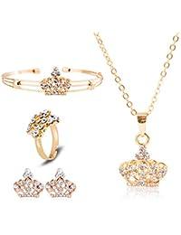 04db749342bc Joyería de la pulsera pendientes del collar retro de la vendimia Conjunto  anillo de la corona