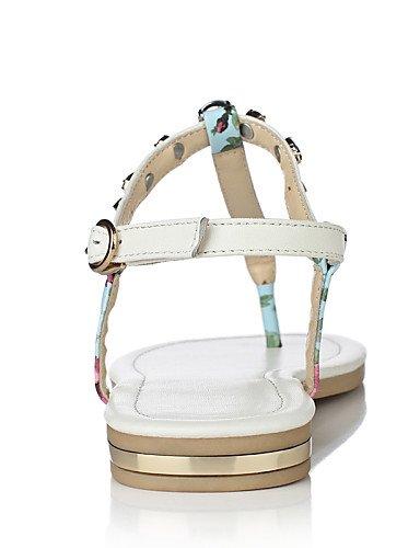 LFNLYX Scarpe Donna-Sandali-Tempo libero / Formale / Casual-Infradito / Decolleté con cinturino-Piatto-Di pelle-Blu / Bianco Blue