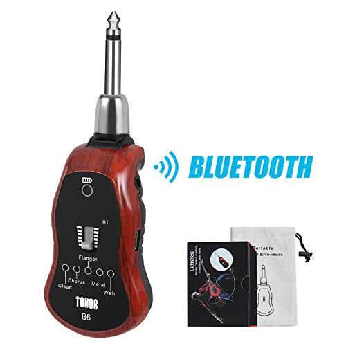 TONOR E-Gitarren-Kopfhörerverstärker Wiederaufladbar mit USB-Ladekabel und 3,5 mm bis 6,35 mm Audiokabel für Lautsprecher Eingebaute Fünf Gitarreneffekte CLEAN/CHORUS/FLANGER/METAL/WAH (Best Gitarre Amp)