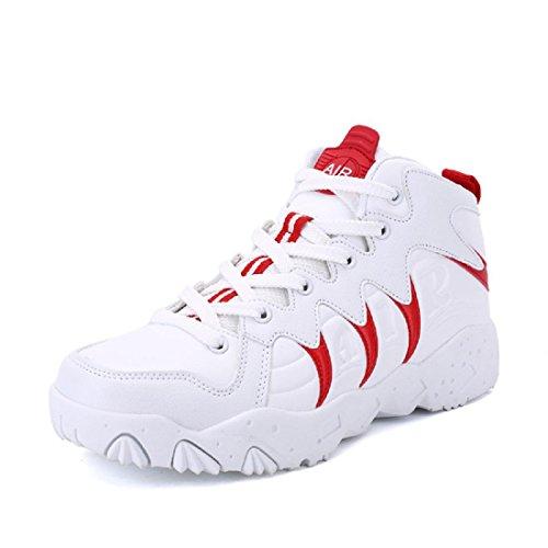 Hommes Hiver Épaisseur Augmente Chaussures Mode Anti-slip Sport Chaussures Baskets Respirant Euro Ballerina Taille 36-44 Rouge