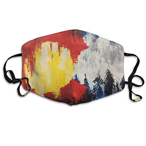 Abstract Colorado Flag Forest Mountain Face Mouth Mask Unisex Polyester Comfy Anti Dust Masks -