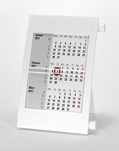 HiCuCo 3-Monats-Tischkalender für 2 Jahre (2017 und 2018) - Aufstellkalender - mit Drehmechanik - weiß