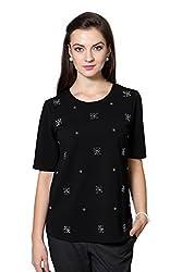 Van Heusen Womens Embellished T-Shirt (VWCT515D01067Short Sleeve_Black Solid_S)