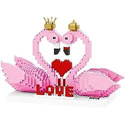 Mini Brick Pink Flamingo con Crown Love Block 3D DIY de Dibujos Animados Nano Regalo de construcción de Juguetes para niños de 830 Piezas