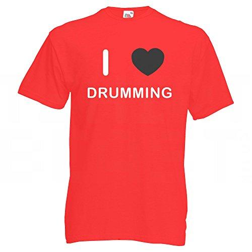 I Love Drumming - T-Shirt Rot