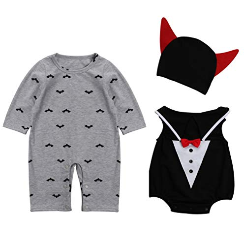 Halloween Kostüm Little Boy - Le SSara Baby devil & Vampire Halloween Bodys newborn Body Kostüm Outfits 3pcs (90, B-Gray)