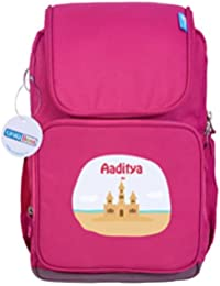 UniQBees Personalised School Bag With Name (Smart Kids Large School Backpack-Pink-Castle)