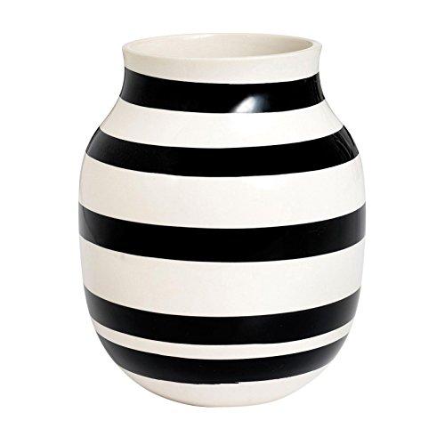 Kähler Omaggio Vase, Keramik, Schwarz-Weiß 20 x 16,5 cm