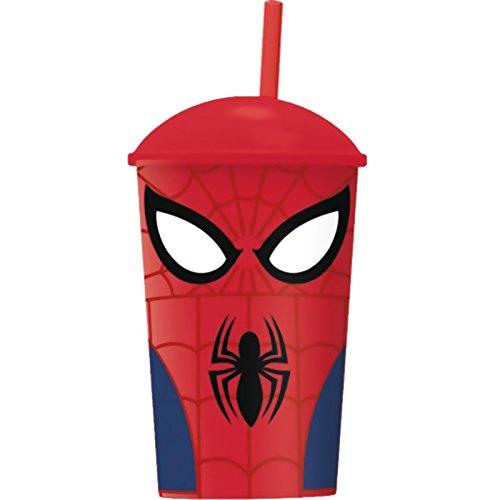 Spiderman���Vetro con paglia e Coperchio Spider Man Attacks