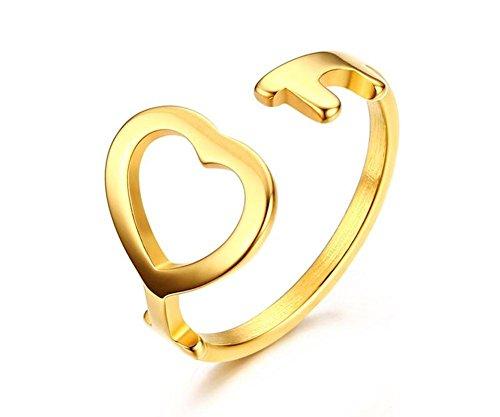 Vnox Frauen Mädchen Edelstahl offene Stulpe Ring Herz Hochzeits dünnes Band,Gold