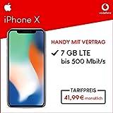 Apple iPhone X (silber) 64GB Speicher Handy mit Vertrag (Vodafone Smart L Plus) 7GB Datenvolumen 24 Monate Mindestlaufzeit