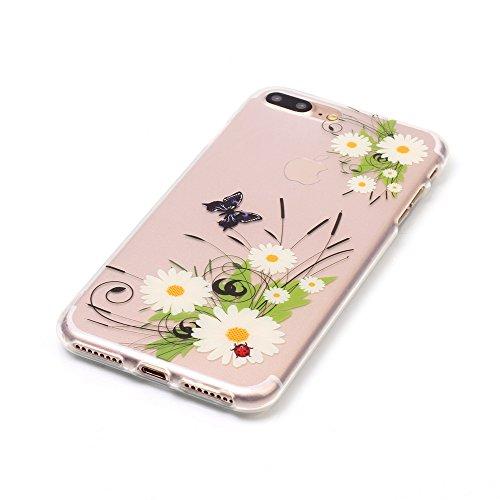 iPhone 8 Plus Hülle,iPhone 7 Plus Hülle,Handyhülle iPhone 8 Plus / 7 Plus Schutzhülle,ikasus® TPU Silikon Schutzhülle Case Hülle für iPhone 8 Plus / 7 Plus,Durchsichtig mit Bunte Gemalt Muster Handyhü Gänseblümchen Schmetterling