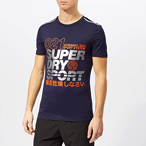 Superdry Herren Active Graphic S/S Tee T-Shirt, Dunkles Marineblau, L - Dunkel Blau Grafik T-shirt