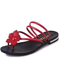MYI Frauen Flip-Flops Wanderschuhe Low Heel Runde Zehe Sommer Schwarz Silber Grün Rot Größe 35-40 (Farbe : Rot, Größe : 38)