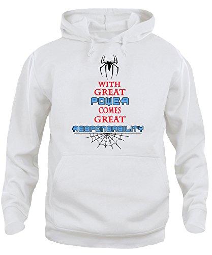 iMage Felpa Cappuccio Unisex Great Power Spiderman Quotes - Famosi Bianca