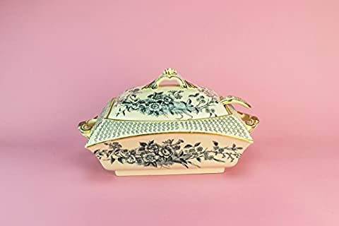 Pottery Antique Montreal Rectangular TUREEN Serving Dinner Spectacular Aesthetic Movement Cream Large 1880s English