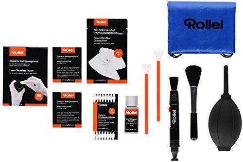 Rollei RE FRESH Kit APS-C - 68 teilges multifunktionales Reinigungsset für Kameras mit APS-C Sensoren, Objektive und Filter, inkl. Blasebalg, Sensorreinigungsflüssigkeit und Tasche