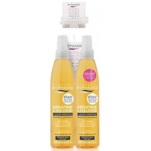 Byphasse - Lot de 2 Spray de Kératine Liquide - Élixir de Beauté - Protecteur Chaleur Cheveux (Lot de 2 X 250 Ml + 1 Elastique Anti Casse Offert) )