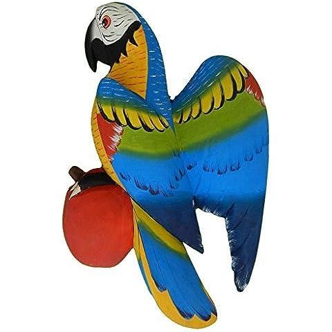 PARROT DA APPENDERE A PARETE, MOTIVO: GIUNGLA, FATTA A MANO, COMMERCIO EQUO E SOLIDALE, SOUTH AMERICAN VIBRANT - Parrot Wall Plaque