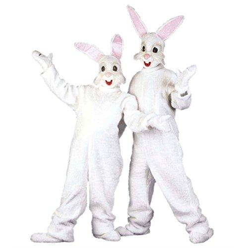 Hasen Kostüm Bunny Ganzkörperkostüm Plüsch Hasenkostüm aus Plüsch Kaninchen Kigurumi Jumpsuit Plüschkostüm Ostern Tierkostüm Maskottchen (Kostüm Kigurumi Maske)