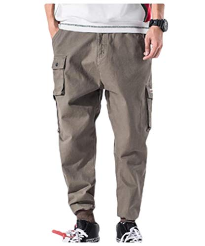 CuteRose Men Regular Fit Outdoor Pockets Solid Closed-Bottom Airsoft Pants Khaki 3XL