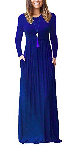 VIISHOW Frauen Langarm Rundhals Taschen Kleid lange Maxi Casual T-Shirt Kleider (Königsblau M) (Langarm-maxi-kleid-blau)