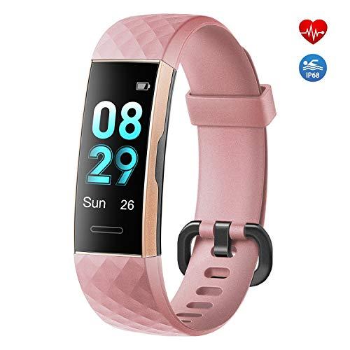 moreFit Fitness Tracker,Fitness Armband mit Pulsmesser IP68 Wasserdicht Sportuhr Aktivitätstracker Schlafmonitor Schrittzähler Uhr für Herren Damen mit Vibrationsalarm Anruf SMS Whatsapp (Rosa)