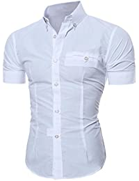 04636a2dc Cotton Mens Short Sleeve Dress Shirts Slim Fit Solid Casual Button Down Shirts  Men