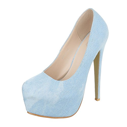 Ital-Design High Heel Damen-Schuhe Pfennig-/Stilettoabsatz High Heels Pumps Hellblau, Gr 39, Xf73-V-