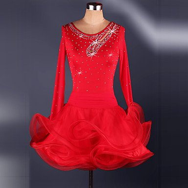 Tanz-Outfit WUDAOFU Cosplay Kostüme Mehre Kostüme Fest/Feiertage Halloween Kostüme Rot/Schwarz/Blau Patchwork Kleid KarnevalOrganza/Elasthan /, ()