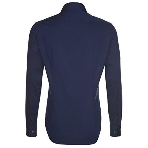 SEIDENSTICKER Herren Hemd Tailored 1/1-Arm Bügelfrei Uni / Uniähnlich City-Hemd Kent-Kragen Kombimanschette weitenverstellbar blau (0019)