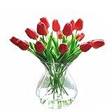 Künstliche Tulpen aus Latex-Material, die sich echt anfühlen, für Hochzeit, Zimmer, Haus, Hotel, als Partydekoration und DIY-dekor, rot, 20pcs