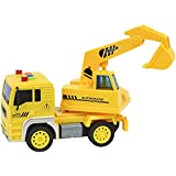IndusBay Friction Powered Construction Automobile JCB Excavator Truck Toy With Light & Sound For Kids