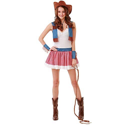 Boo Inc. Country Cowgirl Halloween-Kostüm für Damen, sexy, Wilder Weste - Rot - Small