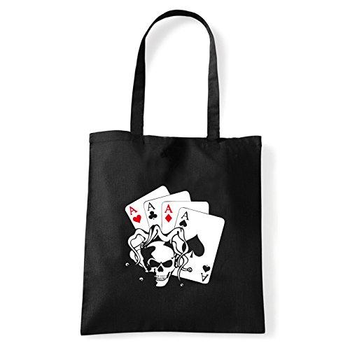Art T-shirt, Borsa Shoulder skullaces Nero