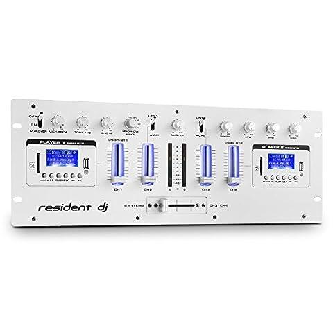 Resident DJ DJ405USB-WH Table de mixage USB 4 voies 2x Bluetooth Enregistrement