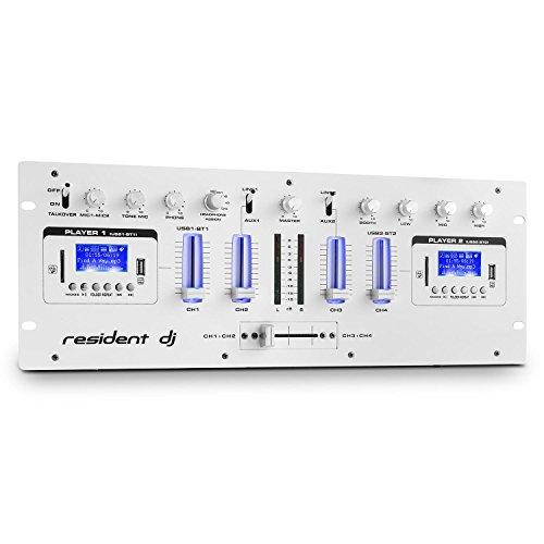 resident dj DJ405USB - 4-Kanal-Mixer, DJ-Mischpult, DJ-Mixer, 2xBluetooth, 2xUSB, 2xSD, AUX, Aufnahmefunktion, Mikrofonsektion, XLR-Eingang, 6,3mm-Klinken-Eingang, 2-Band-Equalizer, weiß