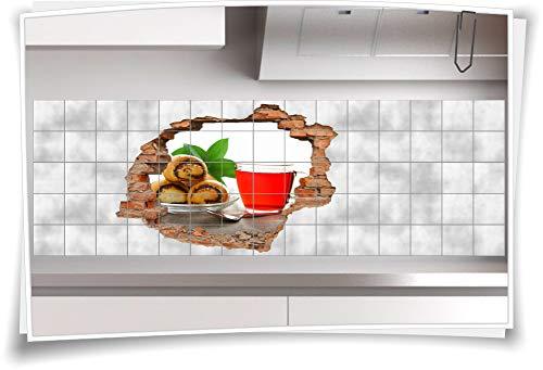Medianlux Fliesen-Bild Wand-Durchbruch 3D Fliesen-Aufkleber Teig-Waren Limonade Tasse, 105x70cm, 15x15cm (BxH)