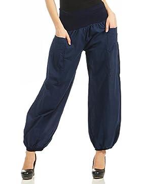 malito Pantalones de Tela Pantalón Bombacho Ocio Deportes 17633 Mujer Talla Única