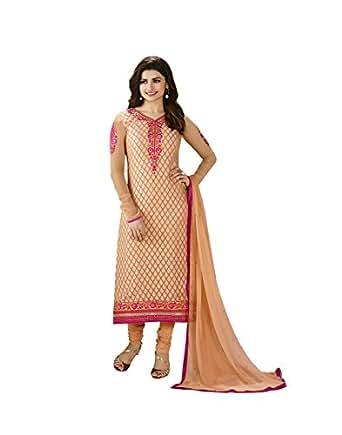 Vinay Tm Women's Georgette Salwar Suit Dress Material (3124_Orange)