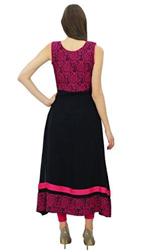 Bimba robe de soirée le kurti marron coton kurta chic vêtements des femmes marron et noir