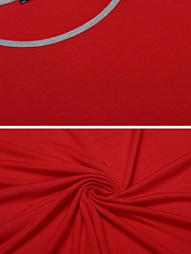 Unibelle Schlafanzug Kurz Damen Streifen Pyjama Hausanzug Kurzarm Nachtwäsche Set Rot